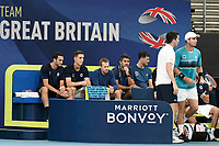 9th January 2020; Sydney Olympic Park Tennis Centre, Sydney, New South Wales, Australia; ATP Cup Australia, Sydney, Day 7; Great Britain versus Australia; Cameron Norrie of Great Britain versus Nick Kyrgios of Australia; Tim Henman captain of Great Britain gives some last minute advice to Cameron Norrie of Great Britain - Editorial Use