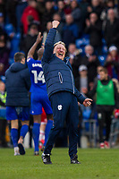 Cardiff City manager Neil Warnock celebrates with the fans at full time of the Sky Bet Championship match between Cardiff City and Middlesbrough at the Cardiff City Stadium, Cardiff, Wales on 17 February 2018. Photo by Mark Hawkins / PRiME Media Images.