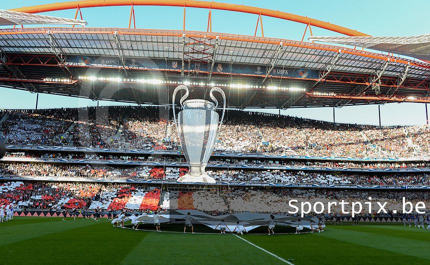 20140524 - LISBON , PORTUGAL : pre-match ceremony pictured during soccer match between Real Madrid CF and Club Atletico de Madrid in the UEFA Champions League Final on Saturday 24 May 2014 in Estadio Da Luz in Lisbon .  PHOTO DAVID CATRY