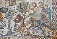 Close up detail picture of the Roman mosaics of the small hunt, room no 24 at the Villa Romana del Casale, first quarter of the 4th century AD. Sicily, Italy. A UNESCO World Heritage Site.<br /> <br /> The Small Hunt room was used as a living room for guests of the Villa Romana del Casale. The Small hunt mosaic design has 4 registers running across the mosaic depicting hunting scenes. In the first register two servants are handling hunting dogs. In the second register figures are depicted burning incense at an altar to Diana, the goddess of hunting, before the hunt starts. The offering is being made by Constantius Clorus , the Caesar of Emperor Maximianus who owned the Villa Romana del Casale. Behind him is his son the future Emperor Constantine. To the right of the altar is a figure holding the reins of a horse dressed in a clavi decorated with ivy leaves indicating that he belongs to the family of Maximianus.