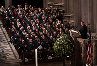 Former President George W. Bush during his eulogy of his father former president George Herbert Walker Bush during a memorial ceremony at the National Cathedral in Washington, Wednesday,  Dec.. 5, 2018. <br /> Credit: Doug Mills / Pool via CNP / MediaPunch