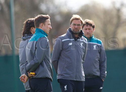 13.04.2016. Anfield, Liverpool, England. Europa League. Liverpool versus Borussia Dortmund Pre Match Press Conference and Training. Liverpool boss Jurgen Klopp and his staff oversee his players training at Melwood ahead of tomorrow night's second of the Europa Cup quarter final v Borussia Dortmund.