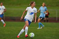 Piscataway, NJ, May 13, 2016. Boston Breakers midfielder Louise Schillgard (10) dribbles upfield. Sky Blue FC defeated the Boston Breakers, 1-0, in a National Women's Soccer League (NWSL) match at Yurcak Field.