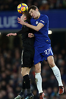 Andreas Christensen of Chelsea and Jamie Vardy of Leicester city during Chelsea vs Leicester City, Premier League Football at Stamford Bridge on 13th January 2018