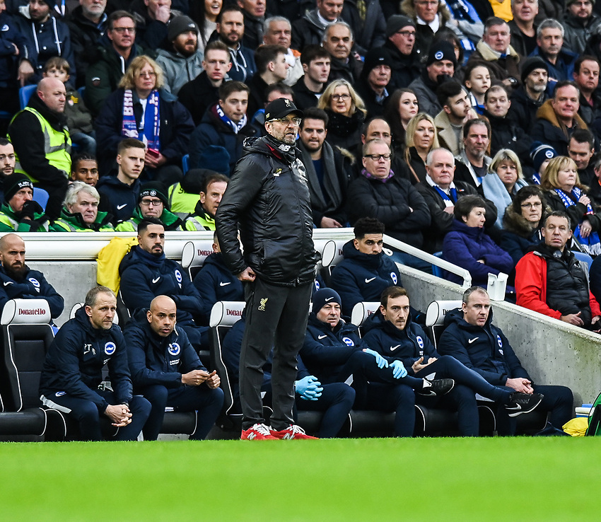 Liverpool manager Jürgen Klopp <br /> <br /> Photographer David Horton/CameraSport<br /> <br /> The Premier League - Brighton and Hove Albion v Liverpool - Saturday 12th January 2019 - The Amex Stadium - Brighton<br /> <br /> World Copyright © 2018 CameraSport. All rights reserved. 43 Linden Ave. Countesthorpe. Leicester. England. LE8 5PG - Tel: +44 (0) 116 277 4147 - admin@camerasport.com - www.camerasport.com
