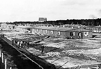 BNPS.co.uk (01202 558833)Pic: Pen&Sword/BNPS<br /> A general view of the huts and compound at Stalag Luft III.<br /> <br /> The medals of a war hero who played a key role in the 'Great Escape' are being sold for the first time.Flight Lieutenant Leslie Broderick was in charge of the entrance of one of three escape tunnels beneath the German prison camp that 76 PoWs later broke out from.The RAF pilot was one of those who famously escaped and spent three days on the run with two others before a German farmer they sought help from turned them in.F/Lt Broderick was returned to Stalag Luft III and spent three weeks in isolation. But his two colleagues - Flying Officer Denys Street and F/O Henry Birkland - were among the 50 escapees executed by the Gestapo on the orders of Adolf Hitler.