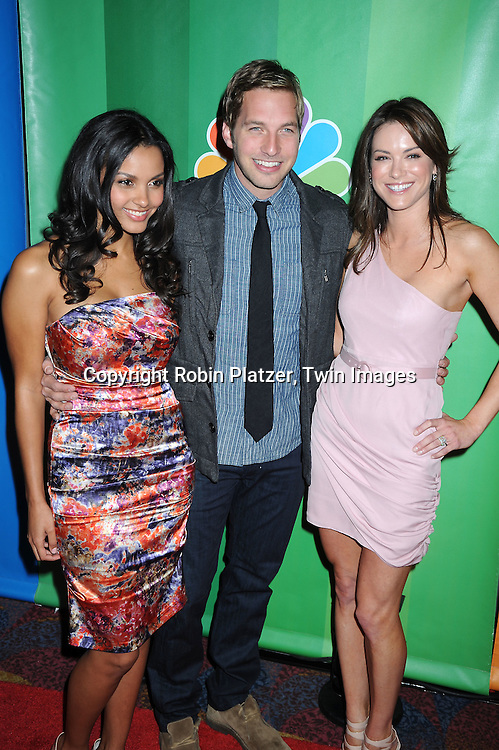 Jessica Lucas, Ryan Hansen and Danneel Harris  posing for photographers at the NBC Universal's Upfront presentation of the 2010-2011 Season on May 17, 2010 at The New York Hilton Hotel in New York City.