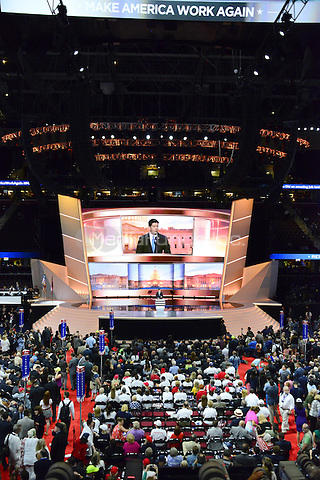 Speaker of the United States House of Representatives Paul Ryan (Republican of Wisconsin) makes remarks at the 2016 Republican National Convention held at the Quicken Loans Arena in Cleveland, Ohio on Tuesday, July 19, 2016.<br /> Credit: Ron Sachs / CNP/MediaPunchP<br /> (RESTRICTION: NO New York or New Jersey Newspapers or newspapers within a 75 mile radius of New York City)