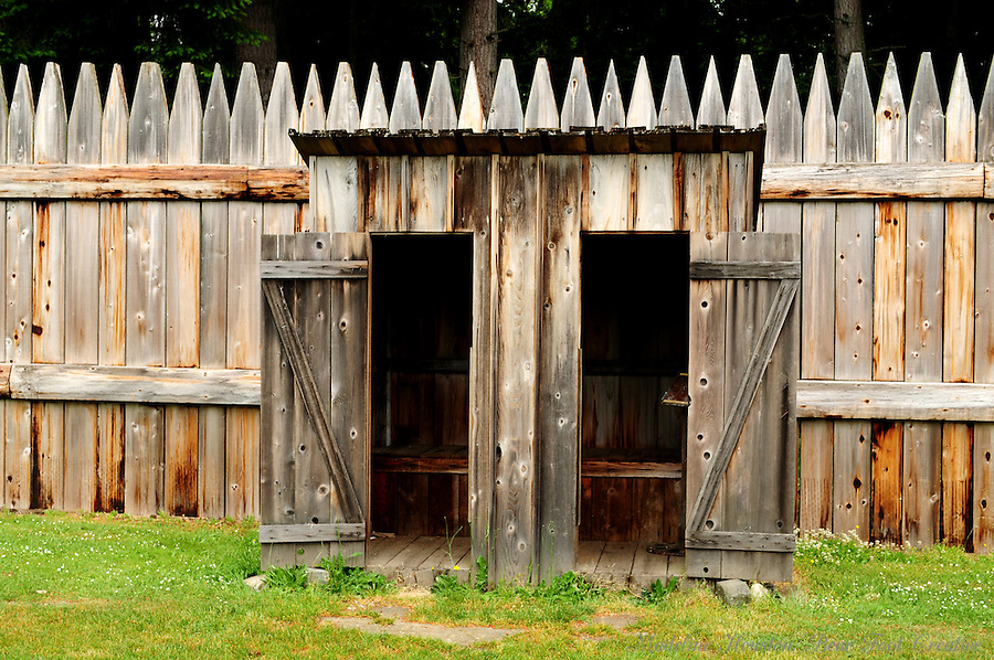 Double outhouse at Fort Nisqually Living History Museum, Point Defiance Park, Tacoma, Washington, USA