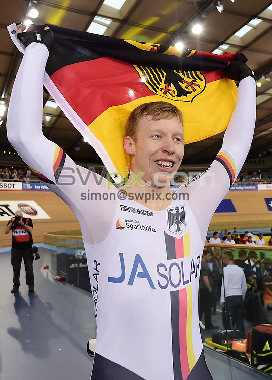 Picture by Alex Broadway/SWpix.com - 06/03/2016 - Cycling - 2016 UCI Track Cycling World Championships, Day 5 - Lee Valley VeloPark, London, England - Joachim Eilers of Germany celebrates after victory in the Men's Keirin Final.