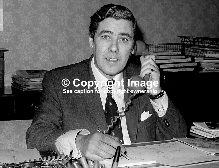 Billy Drennan, secretary, IFA, Irish Football Association, Belfast, N Ireland, 22nd March 1973, 197303220137<br />