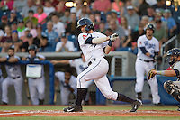 Dansby Swanson (7) of the Hillsboro Hops at bat during a game against the Tri-City Dust Devils at Ron Tonkin Field in Hillsboro, Oregon on August 24, 2015.  Tri-City defeated Hillsboro 5-1. (Ronnie Allen/Four Seam Images)