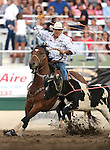 Monty Joe Petska competes in the team roping event at the Reno Rodeo in Reno, Nev. on Friday, June 19, 2015.<br /> Photo by Cathleen Allison/Nevada Photo Source