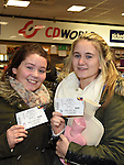 Nicole Leddy and Caitlin Donnelly who queued all night to get their One Direction tickets from CD World in the Drogheda Town Centre. Photo:Colin Bell/pressphotos.ie
