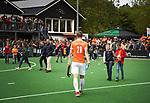 BLOEMENDAAL   - Hockey -  3e en beslissende  wedstrijd halve finale Play Offs heren. Bloemendaal-Amsterdam (0-3).  Teleurstelling bij Floris Wortelboer (Bldaal)  na de wedstrijd.  Amsterdam plaats zich voor de finale.  COPYRIGHT KOEN SUYK