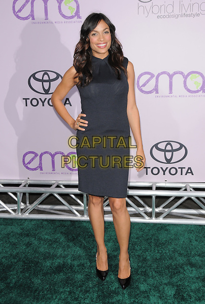 ROSARIO DAWSON.The 18th Annual Environmental Media Awards held at The Ebell Theatre in Los Angeles, California, USA..November 13th, 2008.full length black dress grey gray sleeveless hand on hip .CAP/DVS.©Debbie VanStory/Capital Pictures.