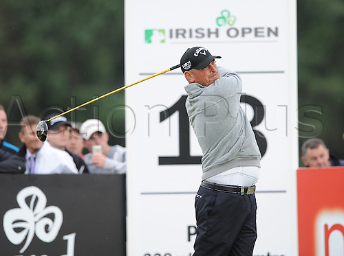 27.06.2013 Maynooth, Ireland. Thomas Bjorn hits drives off the tee on hole 13 during the first round of the Irish Open from Carton House Golf Club