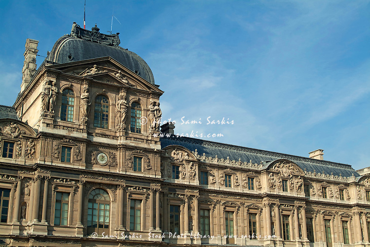 Facade of the Pavillon de l'Horloge, an entrance to the Louvre Museum, Paris, France.