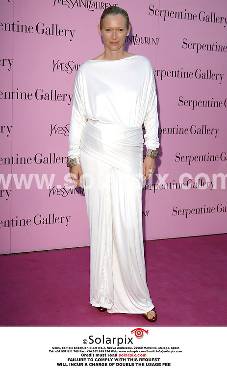 "ALL ROUND PICTURES FROM SOLARPIX.COM.Tilda Swinton arrives for the Serpentine Gallery Summer Party in Hyde Park, London on 11.07.06.  Job Ref: 2572/PRS..""MUST CREDIT SOLARPIX.COM OR DOUBLE FEE WILL BE CHARGED"""