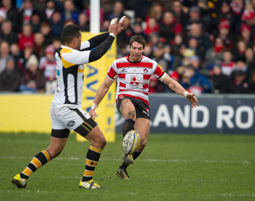 Gloucester Rugby's James Hook in action during todays match<br /> <br /> Photographer Ashley Western/CameraSport<br /> <br /> Rugby Union - Aviva Premiership Round 15 - Gloucester Rugby v Wasps - Saturday 5th March 2016 - Kingsholm Stadium - Gloucester<br /> <br /> &copy; CameraSport - 43 Linden Ave. Countesthorpe. Leicester. England. LE8 5PG - Tel: +44 (0) 116 277 4147 - admin@camerasport.com - www.camerasport.com