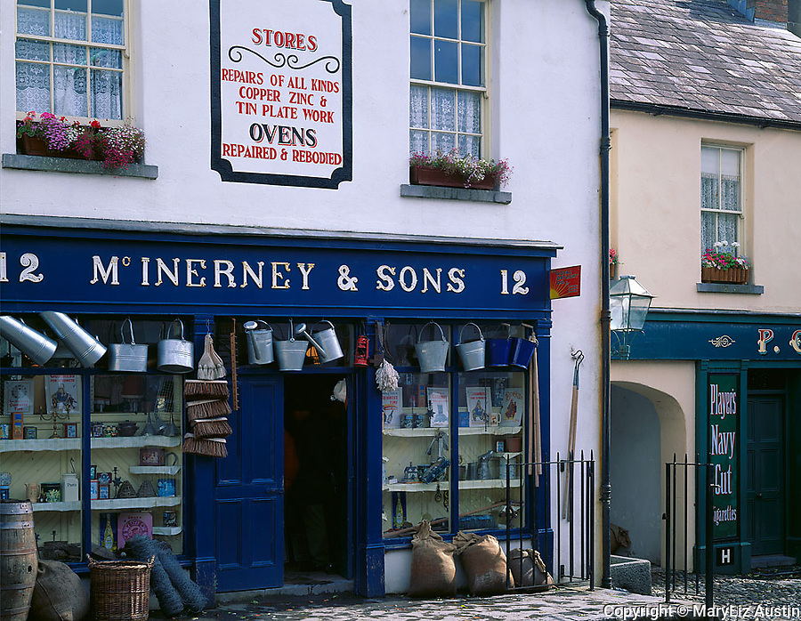 County Clare, Ireland<br /> McInerney & Sons hardware storefront on the village street of Bunratty Folk Park