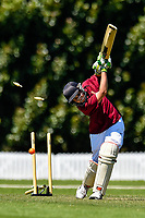 Raroa bowls out  a wicket during the National Primary School Cup Final between Raroa Normal Intermediate School v Kings Prep at the Bert Sutcliffe Oval, Lincoln University, Christchurch, New Zealand. Wednesday 22 November 2017. Photo: John Davidson/www.bwmedia.co.nz