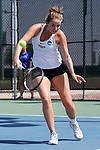 SURPRISE, AZ - MAY 11: Hannah Seizer and teammate Julie Razafindranaly of the Barry Buccaneers returns a ball against Paula Coyos and Diana Vlad of the West Florida Argonauts during the Division II Women's Tennis Championship held at the Surprise Tennis & Racquet Club on May 11, 2018 in Surprise, Arizona. (Photo by Jack Dempsey/NCAA Photos via Getty Images)