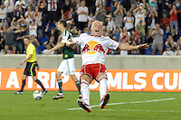 Luke Rodgers (9) of the New York Red Bulls celebrates scoring on a penalty kick. The New York Red Bulls defeated the Portland Timbers 2-0 during a Major League Soccer (MLS) match at Red Bull Arena in Harrison, NJ, on September 24, 2011.