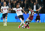 Tottenham's Kyle Walker gets booked for this tackle on West Ham's Manuel Lanzini during the Premier League match at the London Stadium, London. Picture date: May 5th, 2017. Pic credit should read: David Klein/Sportimage