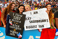San Diego, CA - Sunday July 30, 2017: USA supporters during a 2017 Tournament of Nations match between the women's national teams of the United States (USA) and Brazil (BRA) at Qualcomm Stadium.