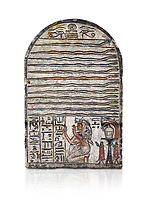"Ancient Egyptian stele dedicated to Meretsesger, limestone, New Kingdom, 19th Dynasty, (1279-1213 BC), Deir el-Medina, Egyptian Museum, Turin. white background.<br /> <br /> The stele is divided into 3 registers. In the top section 2 wedjat eyes with shen sign above 3 zigzag lines indicating water are depicted. The second, largest register, is divided into 12 horizontal strips. Each is occupied by a coloured snake facing to the right.In the bottom register 3 columns of hieroglyphic text worship the goddess Meretseger: ""life, strength and health to the ka and the lady of the house Wab, the justified."" To the right of the text the deceased woman is kneeling with her hands raised in adoration. She  wears a white robe. A lotus flower is placed on top of her wig. Behind her head there are 4 hieroglyphic signs that form the phrase ""at peace"". To the right of the scene there is an offering table with a vessel flanked by a bunch of lotus flowers. Below the table there are 2 vessels on pedestals."