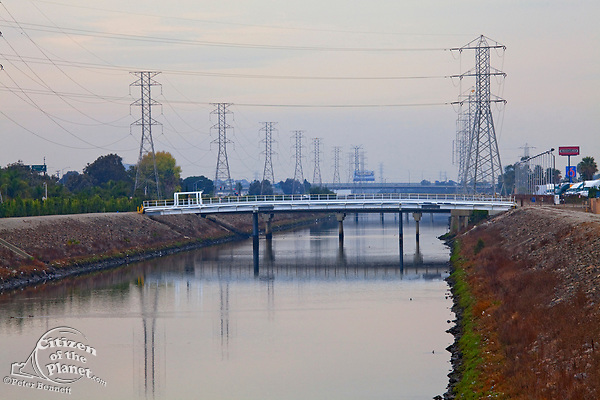 Dominguez Channel, a 15.7 mile stream that drains the Dominguez Watershed, going from its headwaters in Hawthorne and it emptying into the East Basin of the Port of Los Angeles. Carson, California, USA