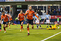 Scott Cuthbert of Luton Town (centre) celebrates after he scores his team's second goal of the game to make the score 2-1 on the night during the Sky Bet League 2 Play Off Semi Final 2 leg match between Luton Town and Blackpool at Kenilworth Road, Luton, England on 18 May 2017. Photo by David Horn.