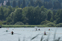 """Lucerne, SWITZERLAND, 14th July 2018, Saturday , Crews, using the """"cooling down zone"""", FISA World Cup III Lake Rotsee, © Peter SPURRIER,"""