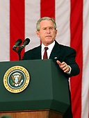 Washington, D.C. - May 29, 2006 -- United States President George W. Bush makes remarks at the annual Arlington National Cemetery Memorial Day Commemoration at Arlington National Cemetery in Arlington, Virginia  on May 29, 2006. <br /> Credit: Ron Sachs  - Pool via CNP