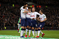 Harry Kane of Tottenham Hotspur is congratulated after scoring the first goal during Tottenham Hotspur vs Chelsea, Caraboa Cup Football at Wembley Stadium on 8th January 2019