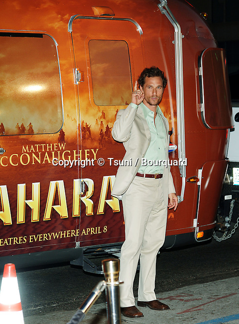 Matthew McConaughey  arriving at the SAHARA Premiere at the Chinese Theatre in Los Angeles. April 4, 2005.