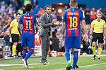 FC Barcelona's forward Neymar Santos Jr, coach Luis Enrique Martinez and defender Jordi Alba during Copa del Rey (King's Cup) Final between Deportivo Alaves and FC Barcelona at Vicente Calderon Stadium in Madrid, May 27, 2017. Spain.<br /> (ALTERPHOTOS/BorjaB.Hojas)