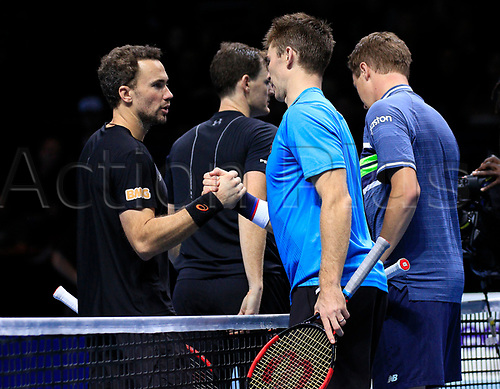 18th November 2017, O2 Arena, London, England; Nitto ATP Tennis Finals; Henri Kontinen (FIN) and John Peers (AUS) shake hands with Jamie Murray (GBR) and Bruno Soares (BRA)
