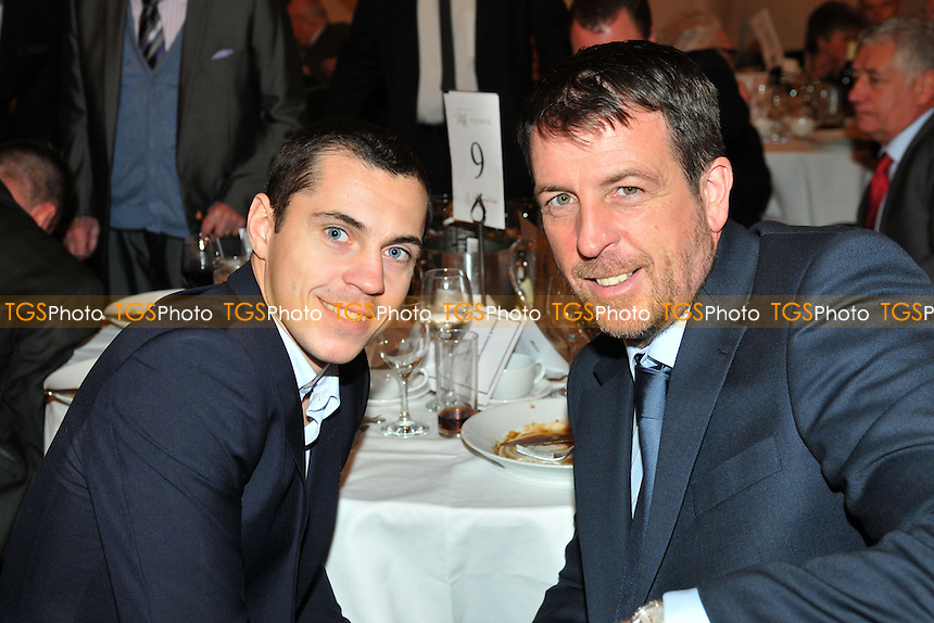 Joe Gallagher (R), winner of the Dennie Mancini award, with Scott Quigg at the London Ex-Boxers Association Awards Dinner - 16/02/14 - MANDATORY CREDIT: Philip Sharkey/TGSPHOTO - Self billing applies where appropriate - 0845 094 6026 - contact@tgsphoto.co.uk - NO UNPAID USE