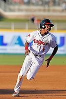 Lansing Lugnuts outfielder Reggie Pruitt (5) running the bases during a game against the Dayton Dragons at Cooley Law School Stadium on August 10, 2018 in Lansing, Michigan. Lansing defeated Dayton 11-4.  (Robert Gurganus/Four Seam Images)
