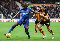 Bolton Wanderers' Clayton Donaldson competing with Hull City's Stephen Kingsley<br /> <br /> Photographer Andrew Kearns/CameraSport<br /> <br /> The EFL Sky Bet Championship - Hull City v Bolton Wanderers - Tuesday 1st January 2019 - KC Stadium - Hull<br /> <br /> World Copyright © 2019 CameraSport. All rights reserved. 43 Linden Ave. Countesthorpe. Leicester. England. LE8 5PG - Tel: +44 (0) 116 277 4147 - admin@camerasport.com - www.camerasport.com
