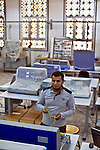 Institute of Industrial Technology - Safwan al-Hinqari - Tripoli - Libya - 27 October 2013 -- Safwan Abdalmejid al-Henqari, 26, a sixth form student in the Mechanical Engineering department of the Institute of Industrial Technology in Tripoli's Injila district, gets to grip with the machinery in one of the institute's laboratories - PHOTO: Iason ATHANASIADIS / EUP-IMAGES