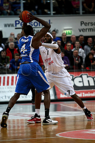 05 01 2010 Brose Baskets BK Ventspils Aaron Pettway Ventspils left Tone Brown Bamberg right. Men's basketball Euro Cup 2009-2010.