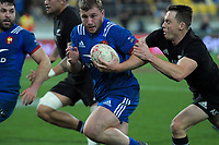 NZ's Ben Smith tries to stop France's Pierre Bourgarit during the Steinlager Series international rugby match between the New Zealand All Blacks and France at Westpac Stadium in Wellington, New Zealand on Saturday, 16 June 2018. Photo: Dave Lintott / lintottphoto.co.nz