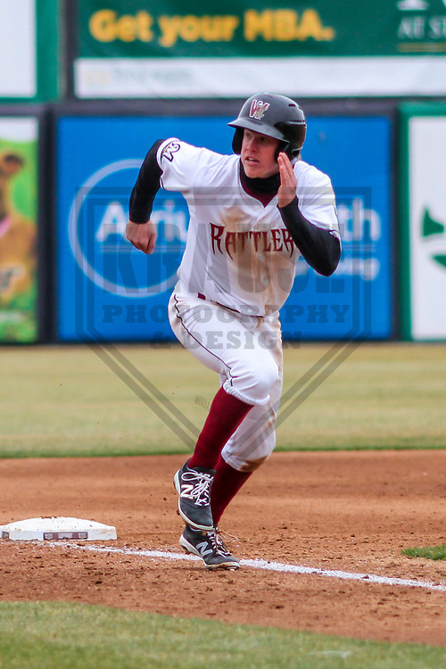 Wisconsin Timber Rattlers second baseman Tucker Neuhaus (19) during a Midwest League game against the Burlington Bees on April 11th, 2017 at Fox Cities Stadium in Appleton, Wisconsin.  Wisconsin defeated Burlington 4-3. (Brad Krause/Krause Sports Photography)