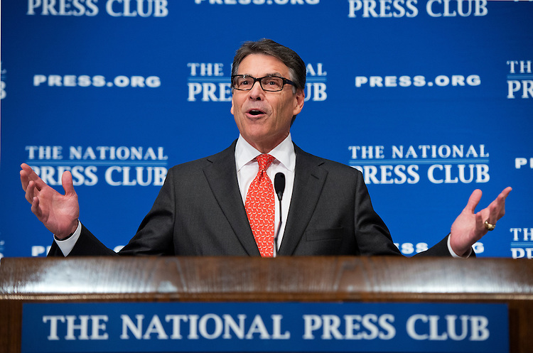 UNITED STATES - JULY 2: Former Gov. Rick Perry, R-Texas, candidate for president, addresses the National Press Club's Newsmaker Luncheon on his economic plan, July 2, 2015. (Photo By Tom Williams/CQ Roll Call)