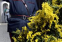 Roma, 7 Marzo 2015<br /> Quirinale.<br /> Giornata internazionale dela donna, <br /> celebrazione dedicata al tema &quot;Donne per la Terra&quot;.<br /> Nalla foto la guardia d'onore composta da personale femminile del corpo forestale dello Stato.