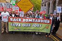 Bombardier Train maker workers at the head of demo