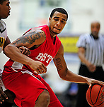 17 January 2010: Boston University Terriers' guard Carlos Strong, a Senior from Portland, ME, in action against the University of Vermont Catamounts at Patrick Gymnasium in Burlington, Vermont. The Catamounts, holding the lead for the entire game, defeated the Terriers 78-58. Mandatory Credit: Ed Wolfstein Photo